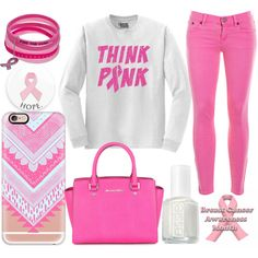 breast cancer awareness month by j-n-a on Polyvore featuring moda, J.Crew, Michael Kors, Casetify and Essie