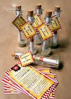 Pirate birthday party invitations - message in a bottle