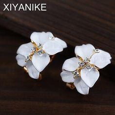 Mode Romantische Nette Kristall Kamelie Blumen Drip Ohrstecker Schmuck für Frauen Weihnachtsgeschenke brincos E674