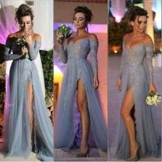 Long sleeve off shoulder tulle and lace long prom dress with side slit ,evening dress by lila