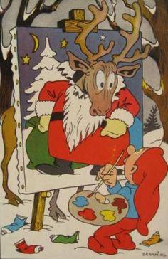 Julekort Afsendt sidst i 40´erne og ind i 50´erne Danish Christmas, Retro Christmas, Christmas Holidays, Christmas Greeting Cards, Christmas Greetings, New Year Postcard, Gnomes, Elves, Troll