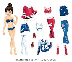 Paper doll | Colección de fotos e imágenes de stock de Semiankova Inha | Shutterstock Calendario Editable, Sport Outfits, Cool Outfits, Set Fashion, Paper Dolls Book, Paper Dolls Printable, Illustration, Models, Crafts For Kids
