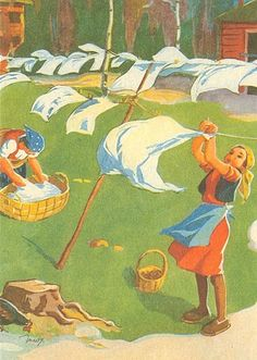 Martta Wendelin was a Finnish artist whose work was widely used to illustrate fairy tales and books, postcards, school books, magazine and book covers. D Book, Vintage Laundry, Retro Advertising, I Love Books, Martini, Hanging Out, Finland, Childrens Books, Fairy Tales