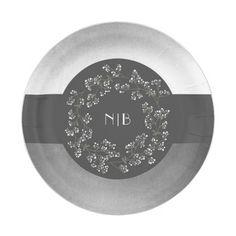Babyu0027s Breath Monogram Silver Grey Wedding Paper Plate  sc 1 st  Pinterest & Modern Yellow and Gray Rose Wedding Paper Plate | Grey Charcoal ...
