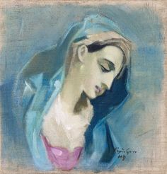 Blå Madonna/Blue by Helene Schjerfbeck Helene Schjerfbeck, Madonna, Female Painters, Futuristic Art, Girl Reading, Figure Painting, Artist Art, Helsinki, Oil On Canvas