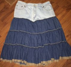 LEVI'S JEAN Topped Peasant Skirt.  Up-Cycled by reconstruKteD
