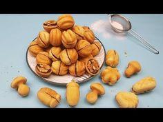 Fursecuri umplute in forma de nuci, ciupercute, ghinde (foarte fragede – cu unt si untura) - YouTube Pretzel Bites, Biscotti, Unt, Almond, Picnic, Snack Recipes, Deserts, The Creator, Chips