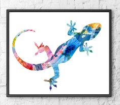 Lizart Art Print, Watercolor Painting Animal Art, Gecko Art Illustration, Watercolor Poster, Colorful Home Wall Decor - H57 by Thenobleowl on Etsy
