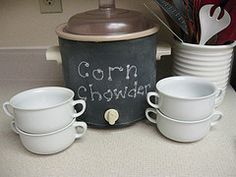 Take your old crockpot and paint it with chalkboard paint! Then you can write what is in it! How neat!