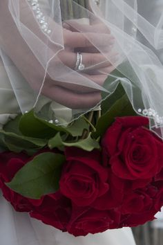 Classic red rose wedding bouquet #wedding