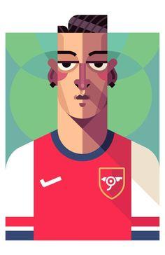Mesut Özil - Arsenal Art Print by Daniel Nyari Arsenal Players, Arsenal Football, Arsenal Fc, Illustrations, Graphic Illustration, Portrait Illustration, Illustration Styles, Illustration Techniques, Soccer Art