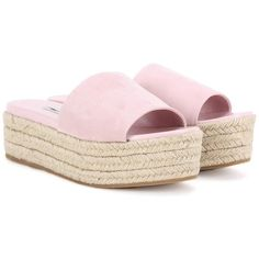 Miu Miu Suede Espadrille Sandals (1,780 SAR) ❤ liked on Polyvore featuring shoes, sandals, espadrilles, pink, miu miu, pink suede shoes, espadrilles shoes, suede sandals and suede leather shoes