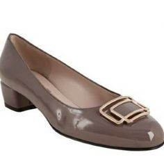 Salvatore Ferragamo mink patent leather 'Coleen' block heels