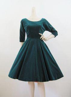 50s Green Velvet Full Skirt Party Dress ~ longer waist, longer skirt... but beautiful!!