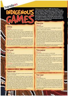 This week's Freebie Friday giveaway is a page of Indigenous games! These games provide a fun variation on more commonly-known western games like chasey, hide-and-seek, tunnel ball etc. As well as being an enjoyable and effective way to burn energy, this h Aboriginal Education, Aboriginal History, Aboriginal Culture, Aboriginal Art Kids, Multicultural Activities, Teaching Activities, Art Activities, Teaching Ideas, Outdoor Activities