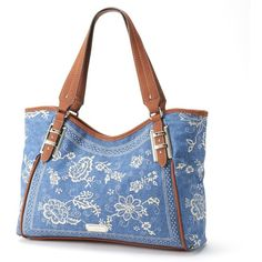 Chaps Floral Tote (Blue) ($47) ❤ liked on Polyvore featuring bags, handbags, tote bags, blue, pattern tote bag, handbags totes, blue purse, tote purses and tote handbags