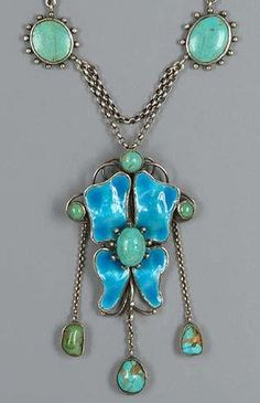 Arts and Crafts turquoise and enamel necklace by C.R. Ashbee.