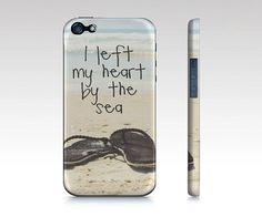 Beach iPhone Case, Sea Quote Quote iPhone OR Samsung Galaxy 3 Cover, Flip Flops Case for iPhone 4/4S/5 Or Samsung Galaxy 3,