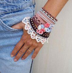 Crochet Cuff Bracelet, Crochet Jewelry, Beaded Cuff Bracelet, Sugar Brown Beige Light Blue Cuff Bracelet, Unique gifts for her Beaded Cuff Bracelet, Beaded Jewelry, Cuff Bracelets, Form Crochet, Bead Crochet, Unique Gifts For Her, Brown Beige, Cute Jewelry, Needlework