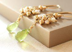 Peridot & Pearl 14KGF Earrings