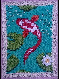 #crochet #pixel #pixels #pixelart #koi #koikarper #blanket #pram #deken #haken #lily #lelie #warm #baby #nursingroom