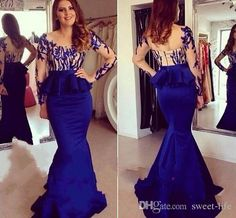 Sexy Royal Blue Evening Dresses Sheer Neck Long Formal Prom Gowns 2015 Occasion Dresses Mermaid Jewel Long Sleeve Peplum Party Celebrity Prom Dresses Long Sleeve Evening Gowns Online with $128.0/Piece on Sweet-life's Store   DHgate.com