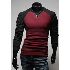 Casual Style Scoop Neck Long Sleeves Slimming Polyester T-Shirt For Men (WINE RED,L) China Wholesale - Sammydress.com
