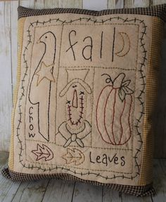 primitive+fall+decor | Primitive Fall Sampler Pumpkin Crow Pillow Home Decor Folk Art Country ...