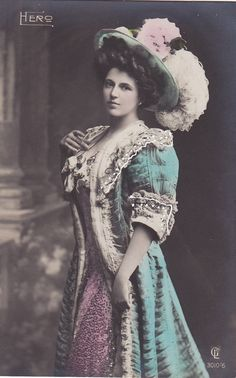 Original vintage postcard circa 1908 of the stunningly beautiful stage performer Hero in a lovely outfit and plumed hat.    Published by Gustav
