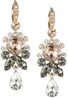 Givenchy Gold 10k Goldplated Crystal Cluster Drop Earrings