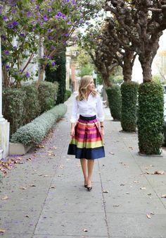 i colorful striped midi skirt fall fashion