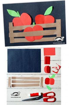 Apple craft for fall Kindergarten Art, Preschool Crafts, Kids Crafts, Arts And Crafts, Winter Crafts For Kids, Autumn Crafts, Art For Kids, Decoration Creche, September Crafts