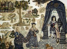 """The Basing House embroidery is a fine example of English raised or """"stump"""" work dating to c1665."""