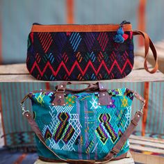 Up-cycled boho huipil clutches and bags.