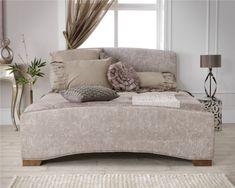 Serene Anastasia Upholstered Bed Frame - Double Bed Frame Only - Mink with Walnut Feet