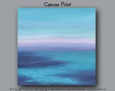Navy and teal home decor, Large abstract seashore, Big square canvas art print, Beach wall decor, Bedroom decor, Office decor, Water, Ocean