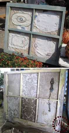 """""""2 window frame ideas. The top one is strictly for display, but the bottom one is cork covered with fabric so you can use it as a message board."""" via The Scrap Shoppe Blog"""