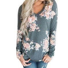 e13915ac952 Spring Boho Floral Print T-Shirt Women V-neck Long Sleeve Casual Tops Ladies
