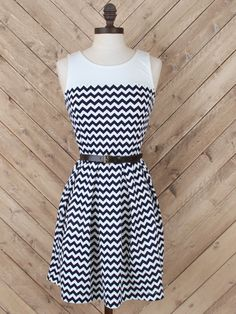 Altar'd State Braided Belt Chevron Dress - Fit and Flare - Dresses - Apparel