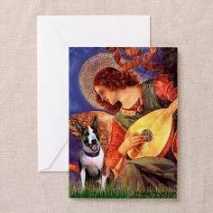 Mandolin Angel, adapted from the masterpiece by Melozzo da Forli, to include a brindle Bull Terrier Greeting Cards (Pk of 10) from  Masterpiece Dogs - Dogs put into Famous Art