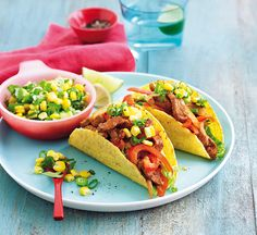 Sizzling pork tacos with corn & lime salsa