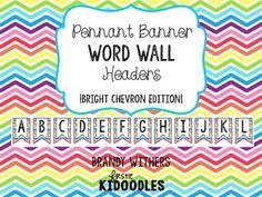 Pennant Banner Word Wall Headers {Bright Chevron Edition}