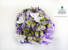 Purple and green hydrangea bouquet with butterflies