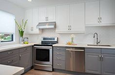 trend two tone kitchen cabinets white and grey