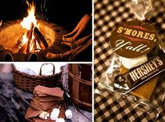 S'mores as desserts/snacks/favors - perfect for a campout wedding (especially since we met so many of our friends working in residential camp settings)!