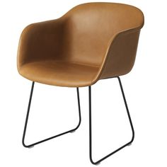Fiber chair, sled base, cognac leather/black, by Muuto.