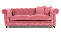 Rosa Buffeln sammetssoffa. Chesterfield, soffa, sammet, mässing, nitar, antik, djuphäftad, svängd, möbler, inredning, vardagsrum