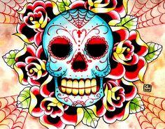 Etsy transaction - old school sugar skull tattoo flash inspired painting art print by carissa rose Memento Mori, Los Muertos Tattoo, Sugar Skull Painting, Sugar Skull Tattoos, Sugar Skulls, Sugar Tattoo, Candy Skulls, Bristol Board, Chicago Artists
