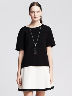 Boiled Wool Short-Sleeve Pullover