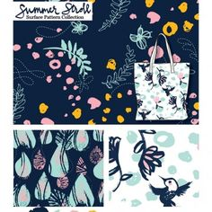 Summer Stroll (Night) - surface pattern collection by Adriana Hernandez (Adriprints)